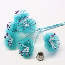 Teal Blue Organza Summer Blossoms x6